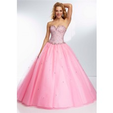 Ball Gown Strapless Sweetheart Neckline Pink Tulle Beaded Prom Dress Lace Up Back