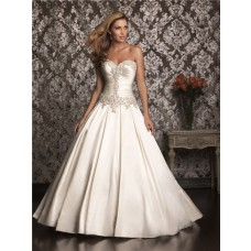 Ball Gown Strapless Sweetheart Satin Ruched Wedding Dress With Beading Pearls