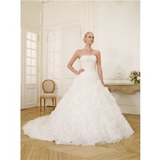 Ball Gown Strapless Tulle Ruffle Floral Corset Wedding Dress