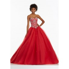 Ball Gown Sweetheart Basque Waist Corset Back Red Tulle Beaded Prom Dress