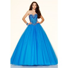 Ball Gown Sweetheart Drop Waist Corset Blue Tulle Beaded Prom Dress