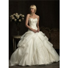 Ball Gown Sweetheart Ivory Satin Organza Puffy Wedding Dress With Embroidery Beading