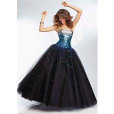Ball Gown Sweetheart Long Black Tulle Silver Turquoise Blue Ombre Beaded Prom Dress
