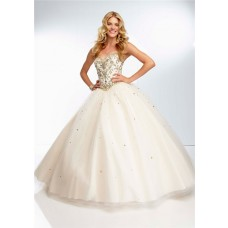 Ball Gown Sweetheart Long Champagne Tulle Gold Beaded Prom Dress Corset Back