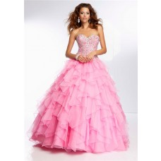 Ball Gown Sweetheart Long Pink Organza Ruffle Petal Beaded Prom Dress Corset Back