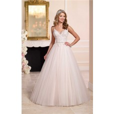 Ball Gown Sweetheart Open Back Tulle Lace Crystal Beaded Wedding Dress With Straps