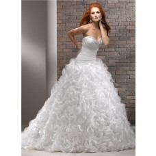 Ball Gown Sweetheart Organza Beaded Ruffle Floral Wedding Dress With Crystal