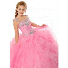 Ball Gown Sweetheart Pink Organza Ruffle Beaded Girl Pageant Prom Dress