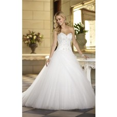 Ball Gown Sweetheart Satin Embroidery Tulle Sequin Corset Wedding Dress With Draping