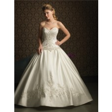 Ball Gown Sweetheart Satin Wedding Dress With Embroidery Beads Sequins