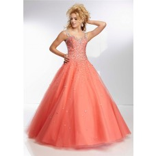 Ball Gown Sweetheart Sheer See Through Back Coral Tulle Beaded Prom Dress With Straps