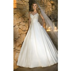 Ball Gown Sweetheart Spaghetti Strap Tafftea Flower Wedding Dress With Pearls Buttons