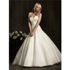 Ball Gown Sweetheart Tulle Lace Applique Wedding Dress With Train