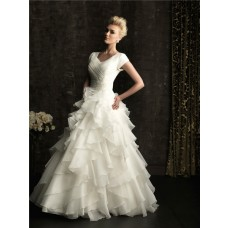 Ball Gown square court train short sleeves wedding dress with ruffles
