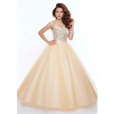 Ball Gown sweetheart floor length champagne beaded tulle prom dress