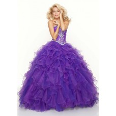 Ball Gown sweetheart floor length purple beaded organza prom dress with ruffles