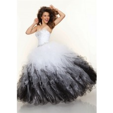 Ball Gown sweetheart floor length white black multi color prom dress with ruffles and beading