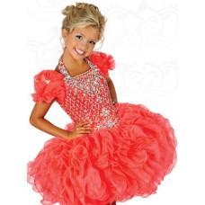 Ball Halter Short Coral Organza Ruffle Beaded Tutu Girl Party Prom Dress