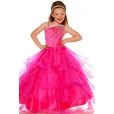 Ball One Shoulder Pink Tiered Organza Ruffle Flower Girl Pageant Dance Dress