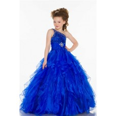 Ball One Shoulder Royal Blue Beaded Organza Ruffle Little Girl Evening Prom Dress