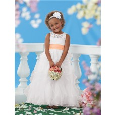 Ball Scoop White Lace Organza Ruffle Orange Sash Wedding Little Flower Girl Dress