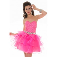 Ball Strapless Short/ Mini Hot Pink Sequin Tiered Organza Cocktail Prom Dress