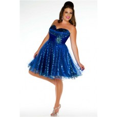 Ball Sweetheart Mini Short Royal Blue Sequined Beaded Plus Size Party Prom Dress