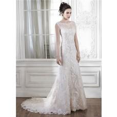 Beautiful Mermaid Illusion Neckline Sleeveless Open Back Lace Wedding Dress