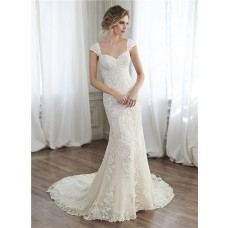 Beautiful Mermaid Sweetheart Applique Lace Corset Wedding Dress With Detachable Straps