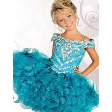 Beautiful Off The Shoulder Short Teal Organza Ruffle Puffy Girl Pageant Prom Dress