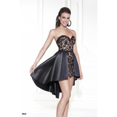 Beautiful Sweetheart Black Satin Lace High Low Hem Party Prom Dress