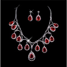 Beautiful ruby Women's Jewelry Set Including Necklace, Earrings