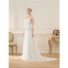 Casual Scoop Neckline Spaghetti Strap Chiffon Lace Wedding Dress With Buttons