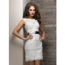 Casual Sheath Bateau Short Lace Beach Wedding Dress With Black Sash Feather