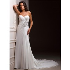 Casual Sheath Sweetheart Chiffon Destination Beach Wedding Dress With Flowers Train