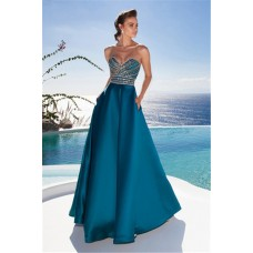 Charming A Line Strapless Long Teal Satin Beaded Prom Dress