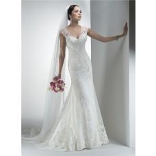 Charming Mermaid V Neck Sheer Back Cap Sleeve Vintage Lace Wedding Dress