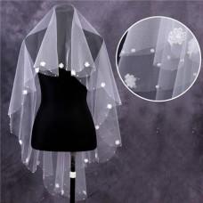 Charming One Tier Tulle Flowers Pearls Waltz Length Wedding Bridal Veil