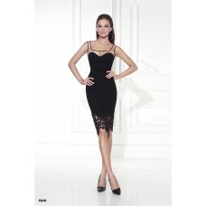 Charming Square Neck Black Satin Lace Evening Dress With Sheer Straps