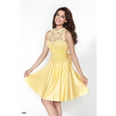 Charming Sweetheart Short Yellow Satin Party Prom Dress With Lace Jacket