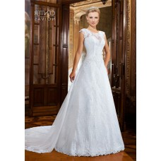 Chic A Line Cap Sleeve Lace Wedding Dress With Detachable Train