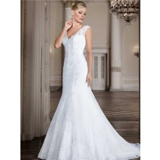 Chic Mermaid V Neck Lace Wedding Dress With Buttons