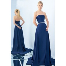 Chic Strapless Long Navy Satin Beaded Belt Evening Prom Dress Sweep Train
