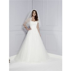 Classic A Line Princess Strapless Sweetheart Tulle Lace Appliques Formal Wedding Dress