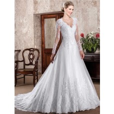 Classic A Line Scalloped Neckline Open Back Long Sleeve Lace Wedding Dress