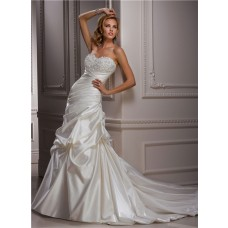 Classic A Line Sweetheart Dropped Waist Crystal Beaded Wedding Dress With Detachable Straps
