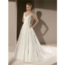 Classic A Line V Neck Low Back Vintage Lace Wedding Dress With Sheer Straps Flowers
