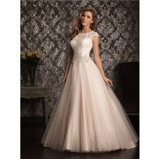 Classic Ball Gown Cap Sleeve Champagne Lace Tulle Wedding Dress Keyhole Open Back