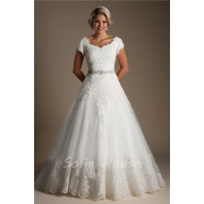 Classic Ball Gown Cap Sleeve Tulle Lace Modest Wedding Dress Detachable Crystals Sash