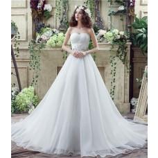 Classic Ball Gown Strapless Corset Back Organza Crystal Wedding Dress Long Train